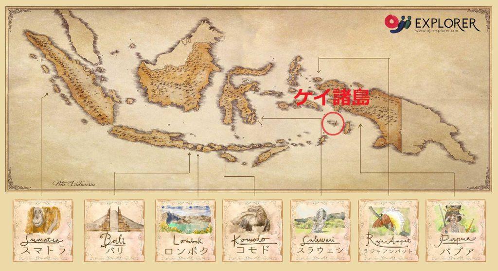 ケイ諸島の地図